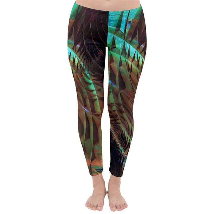 Metallic Abstract Copper Patina  Winter Leggings