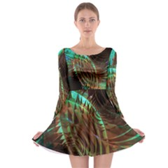 Metallic Abstract Copper Patina  Long Sleeve Skater Dress