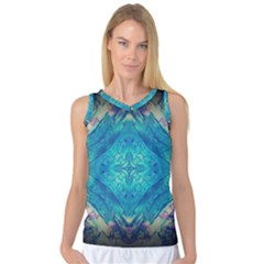 Boho Hippie Tie Dye Retro Seventies Blue Violet Women s Basketball Tank Top by CrypticFragmentsDesign