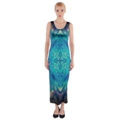 Boho Hippie Tie Dye Retro Seventies Blue Violet Fitted Maxi Dress