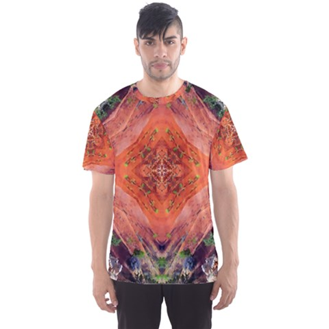 Boho Bohemian Hippie Floral Abstract Faded  Men s Sport Mesh Tee by CrypticFragmentsDesign