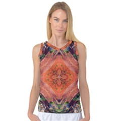 Boho Bohemian Hippie Floral Abstract Faded  Women s Basketball Tank Top