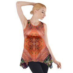 Boho Bohemian Hippie Floral Abstract Faded  Side Drop Tank Tunic by CrypticFragmentsDesign