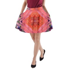Boho Bohemian Hippie Retro Tie Dye Summer Flower Garden Design A-line Pocket Skirt by CrypticFragmentsDesign