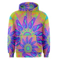 Neon Flower Sunburst Pinwheel Men s Pullover Hoodie by CrypticFragmentsColors