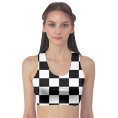 Checkered Flag Race Winner Mosaic Tile Pattern Sports Bra by CrypticFragmentsColors