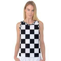 Checkered Flag Race Winner Mosaic Tile Pattern Women s Basketball Tank Top by CrypticFragmentsColors