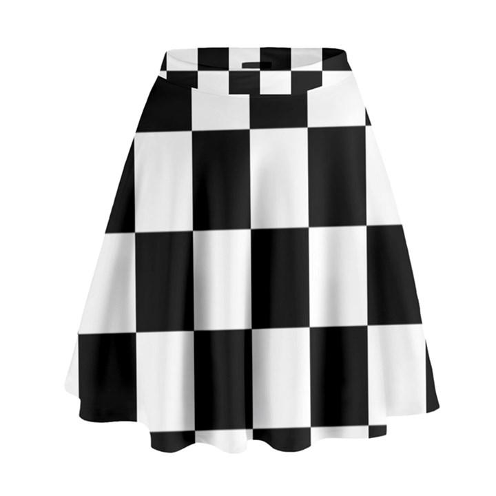 a536f1d053 Checkered Flag Race Winner Mosaic Tile Pattern High Waist Skirt