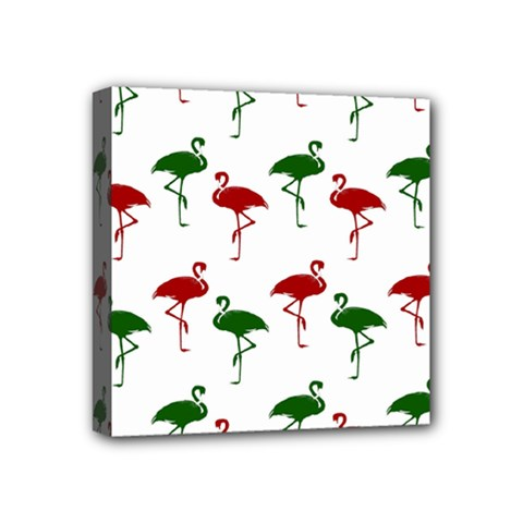 Flamingos Christmas Pattern Red Green Mini Canvas 4  X 4  (stretched) by CrypticFragmentsColors