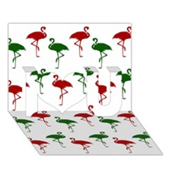 Flamingos Christmas Pattern Red Green I Love You 3d Greeting Card (7x5) by CrypticFragmentsColors