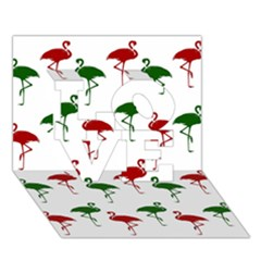 Flamingos Christmas Pattern Red Green Love 3d Greeting Card (7x5) by CrypticFragmentsColors