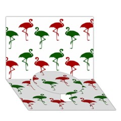 Flamingos Christmas Pattern Red Green Circle Bottom 3d Greeting Card (7x5) by CrypticFragmentsColors