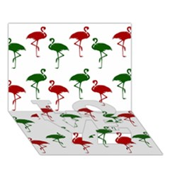 Flamingos Christmas Pattern Red Green Love Bottom 3d Greeting Card (7x5) by CrypticFragmentsColors