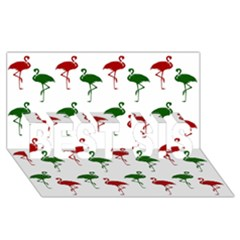 Flamingos Christmas Pattern Red Green Best Sis 3d Greeting Card (8x4) by CrypticFragmentsColors
