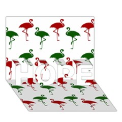 Flamingos Christmas Pattern Red Green Hope 3d Greeting Card (7x5) by CrypticFragmentsColors