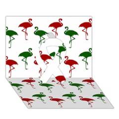 Flamingos Christmas Pattern Red Green Ribbon 3d Greeting Card (7x5) by CrypticFragmentsColors