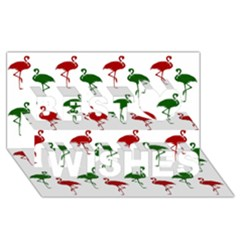 Flamingos Christmas Pattern Red Green Best Wish 3d Greeting Card (8x4) by CrypticFragmentsColors