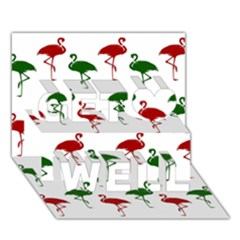 Flamingos Christmas Pattern Red Green Get Well 3d Greeting Card (7x5) by CrypticFragmentsColors