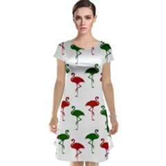 Flamingos Christmas Pattern Red Green Cap Sleeve Nightdress