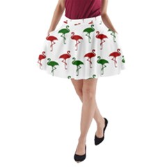Flamingos Christmas Pattern Red Green A-line Pocket Skirt