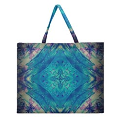 Boho Hippie Tie Dye Retro Seventies Blue Violet Zipper Large Tote Bag by CrypticFragmentsDesign