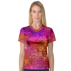Purple Orange Pink Colorful Art Women s V Neck Sport Mesh Tee by yoursparklingshop