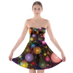 Billions Of Bubbles Strapless Dresses by WolfepawFractals