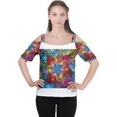 Spirals And Curlicues Women s Cutout Shoulder Tee