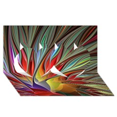 Fractal Bird Of Paradise Twin Hearts 3d Greeting Card (8x4) by WolfepawFractals