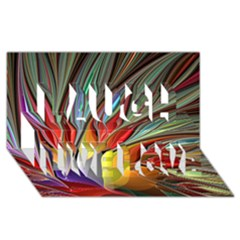 Fractal Bird Of Paradise Laugh Live Love 3d Greeting Card (8x4) by WolfepawFractals