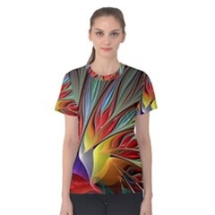 Fractal Bird Of Paradise Women s Cotton Tee by WolfepawFractals
