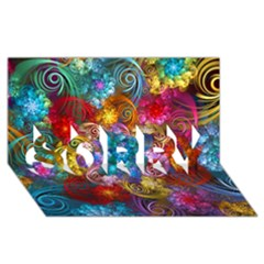 Spirals And Curlicues Sorry 3d Greeting Card (8x4)  by WolfepawFractals
