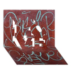Urban Graffiti Rust Grunge Texture Background Love 3d Greeting Card (7x5)  by CrypticFragmentsDesign