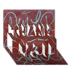 Urban Graffiti Rust Grunge Texture Background Thank You 3d Greeting Card (7x5)  by CrypticFragmentsDesign