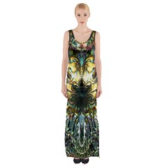 Metallic Abstract Flower Copper Patina Maxi Thigh Split Dress by CrypticFragmentsDesign