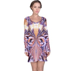 Fire Goddess Abstract Modern Digital Art  Long Sleeve Nightdress by CrypticFragmentsDesign