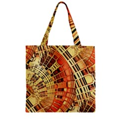 Semi Circles Abstract Geometric Modern Art Orange Zipper Grocery Tote Bag by CrypticFragmentsDesign