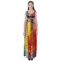 Conundrum I, Abstract Rainbow Woman Goddess  Empire Waist Maxi Dress by DianeClancy