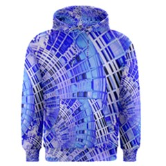 Semi Circles Abstract Geometric Modern Art Blue  Men s Pullover Hoodie