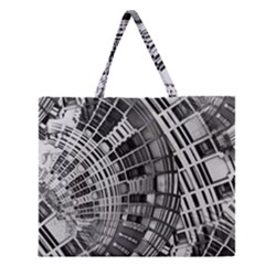 Semi Circles Abstract Geometric Modern Art Zipper Large Tote Bag by CrypticFragmentsDesign