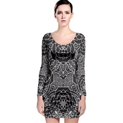 Mariager   Bold Flower Design   Black And White Long Sleeve Bodycon Dress by Zandiepants