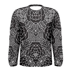 Mariager   Bold Flower Design   Black And White Men s Long Sleeve Tee by Zandiepants