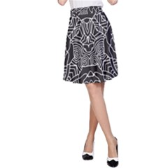 Mariager   Bold Flower Design   Black And White A Line Skirt by Zandiepants