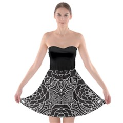 Mariager - Bold Flower Design - Black And White Strapless Dresses by Zandiepants