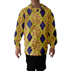 Tribal Shapes And Rhombus Pattern                        Hooded Wind Breaker (kids) by LalyLauraFLM