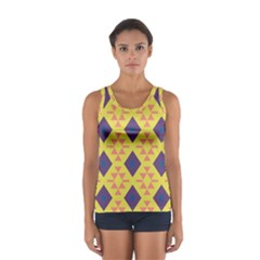 Tribal Shapes And Rhombus Pattern                        Women s Sport Tank Top by LalyLauraFLM