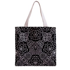 Petals In Black White, Bold Flower Design Zipper Grocery Tote Bag by Zandiepants