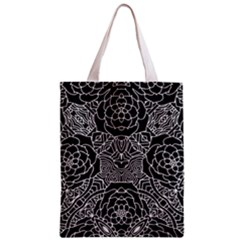 Petals In Black White, Bold Flower Design Zipper Classic Tote Bag by Zandiepants