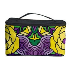 Petals In Mardi Gras Colors, Bold Floral Design Cosmetic Storage Case by Zandiepants