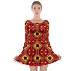 Flower Shapes Pattern                             Long Sleeve Skater Dress by LalyLauraFLM